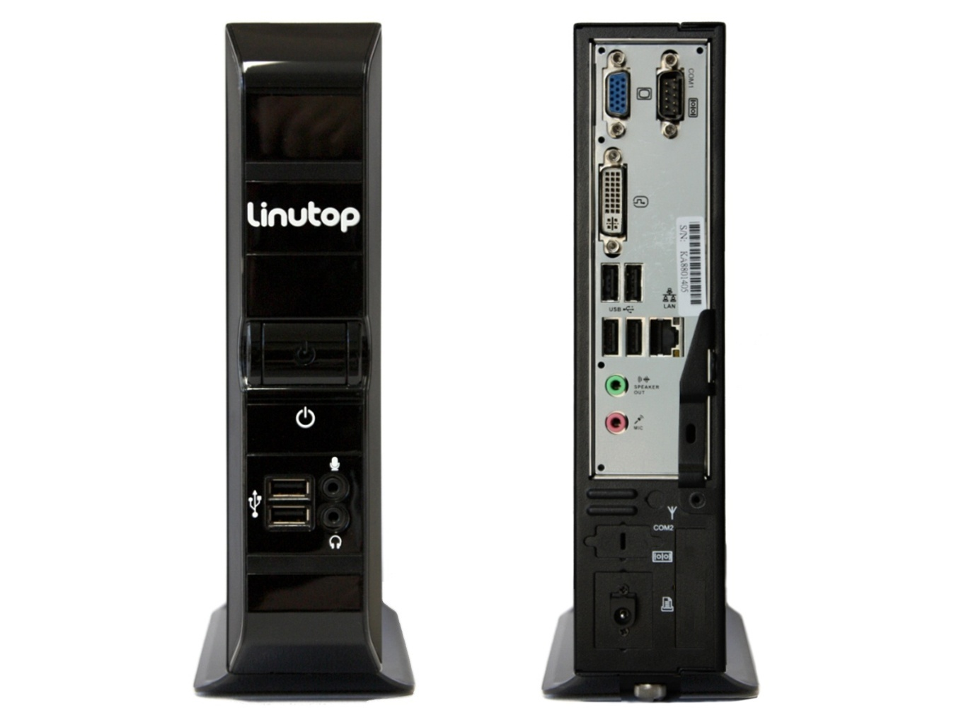 mini pc fanless linutop 3 front and back side