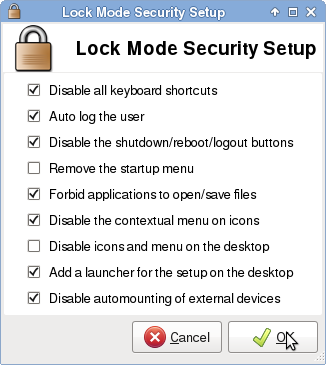Linuop OS lockdown kiosk mode security