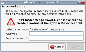 Dialog to set the administrator password for the Linutop Lock mode