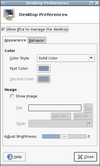 desktop settings dialog